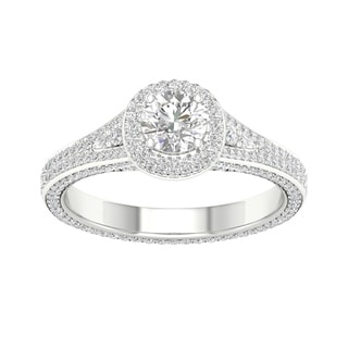 De Couer 14k White Gold 1 1/4ct TDW Diamond Split-Shank Halo Engagement Ring