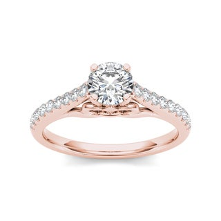 De Couer 14k Rose Gold 1ct TDW Diamond Exquisite Engagement Ring - Pink (More options available)