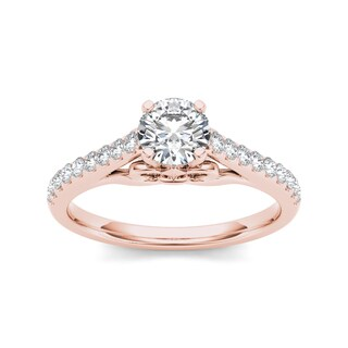 De Couer 14k Rose Gold 1ct TDW Diamond Exquisite Engagement Ring - Pink