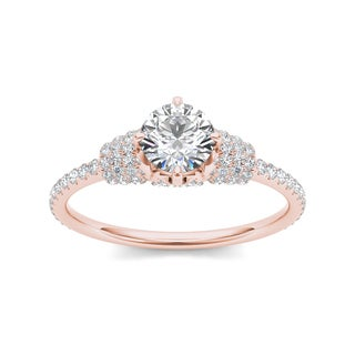 De Couer 14k Rose Gold 1ct TDW Diamond Glorious Engagement Ring - Pink