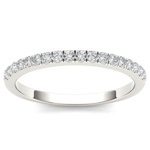 De Couer IGI Certified 10k White Gold 1/3ct TDW Diamond Comely Women's Wedding Band - White H-I