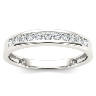 De Couer 14k White Gold 1/4ct TDW Diamond Wedding Band - White H-I