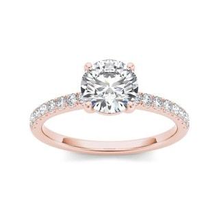 De Couer 14k Rose Gold 1 1/4ct TDW Diamond Classic Engagement Ring - Pink