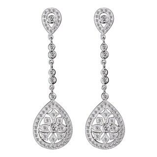 Collette Z Sterling Silver Cubic Zirconia Long Pear Drop Earrings