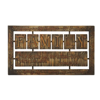 'Family' 38-inch Metal Tile Wall Plaque