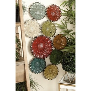 38-inch Multi-colored Distressed Iron Abstract Flower Gears Wall Sculpture
