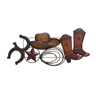 39-inch Western Theme Bronze Wrought Iron Wall Sculpture