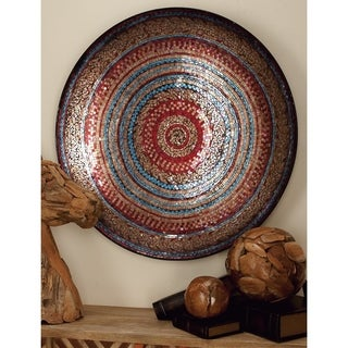 36-inch Global Inspired Earthtone Mosaic Iron Wall Platter