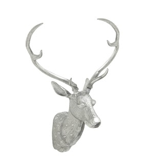 13-inch Polished Aluminum Deer Head Wall Sculpture