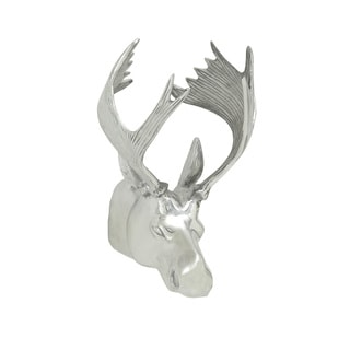 13-inch Polished Aluminum Moose Head Wall Sculpture