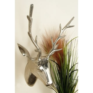 23-inch Polished Aluminum Reindeer Head Wall Sculpture