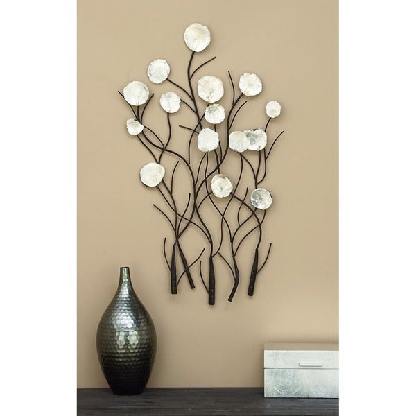 36-inch Contemporary White Capiz Shell Peonies Wall Sculpture