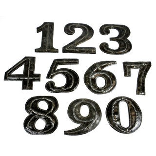 Handmade Hand Cut and Embossed Haitian Metal House Numbers (Haiti)