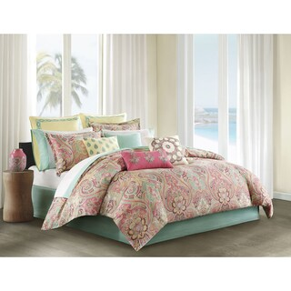 Echo Design Guinevere Coral/ Seafoam Cotton Sateen Reversible Comforter Set (5 options available)