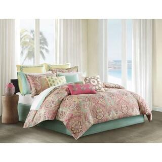 Echo Design Guinevere Coral/ Seafoam Cotton Sateen Reversible Comforter Set