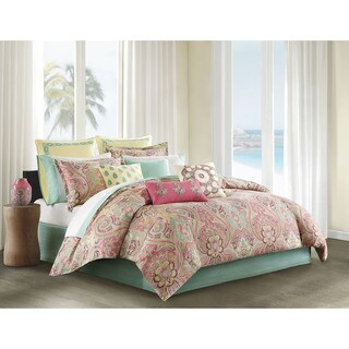 Echo Design Guinevere Coral/ Seafoam Cotton Sateen Reversible Comforter Set
