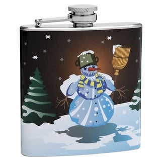 Top Shelf Flasks 6-ounce Snowman Winter Theme Hip Flask