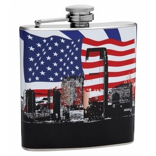 Top Shelf Flasks 6-ounce Patriotic American Flag and City Flask