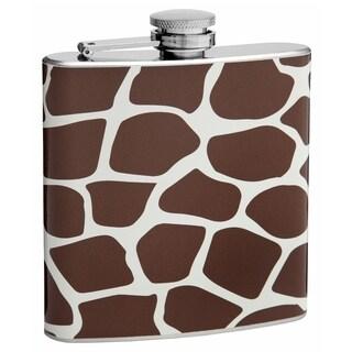 Top Shelf Flasks 6-ounce Brown Giraffe Pattern Hip Flask