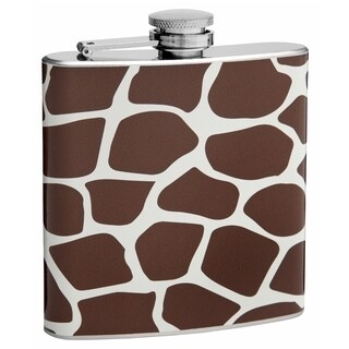 Top Shelf Flasks 6-ounce Brown Giraffe Pattern Hip Flask