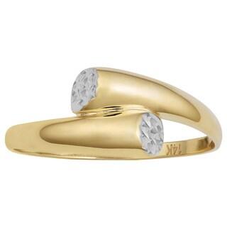 Fremada 14k Two-tone Gold Diamond-cut and High Polish Bypass Ring