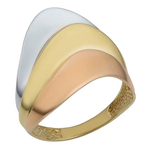 14k Tricolor Gold High Polish Layered Design Ring
