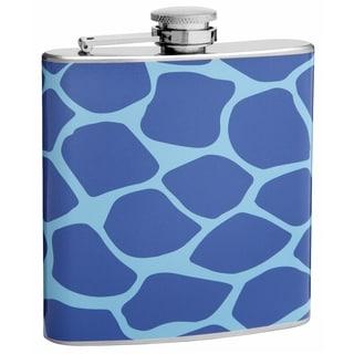 Top Shelf Flasks Two-tone Blue Giraffe Print 6-ounce Hip Flask