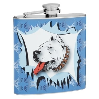 Top Shelf Flasks 6-ounce Pit Bull Design Hip Flask