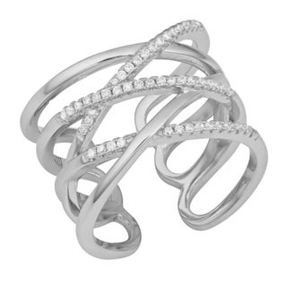 Fremada Rhodium Plated Sterling Silver with Cubic Zirconia Highway Ring