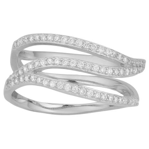 Fremada Rhodium-plated Sterling Silver with Cubic Zirconia Stylish Wave Design Ring