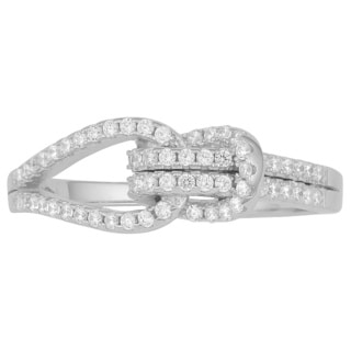 Fremada Rhodium Plated Sterling Silver with Cubic Zirconia Love Knot Ring