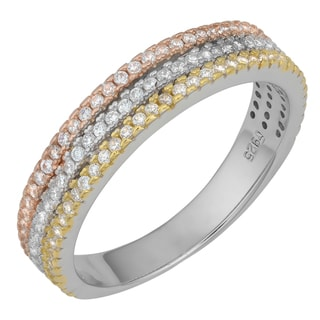 Fremada Rhodium Plated Sterling Silver with Cubic Zirconia Tricolor Band Ring