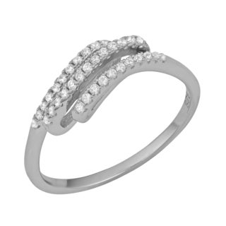 Fremada Rhodium Plated Sterling Silver with Cubic Zirconia Stylish Ring