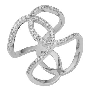 Fremada Rhodium Plated Sterling Silver with Cubic Zirconia Crossover Double C Ring