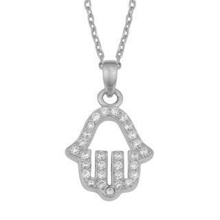 Fremada Rhodium Plated Sterling Silver and Cubic Zirconia Hamsa Necklace