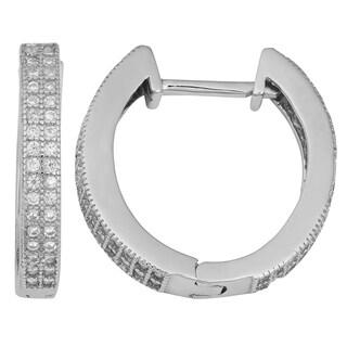 Fremada Sterling Silver with Cubic Zirconia Stunning Hinged Hoop Earrings