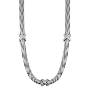 Argento Italia Rhodium Plated Sterling Silver Snake Chain with 'X' Station Necklace