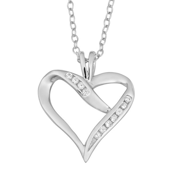 Fremada Rhodium Plated Sterling Silver and Cubic Zirconia Heart Necklace