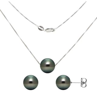 DaVonna Sterling Silver Tahitian Pearl Pendant and Earring Jewelry Set