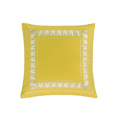Echo Design Jaipur Yellow Cotton 26 x 26-inch Euro Sham with Hidden Zipper Closure