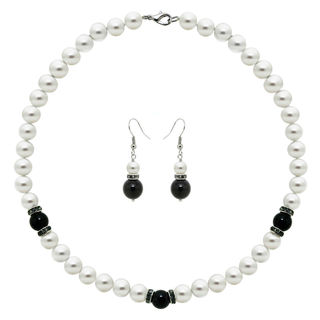 DaVonna Sterling Silver White Pearl and Black Onyx with CZ Jewelry Set