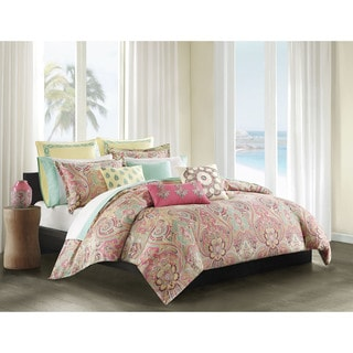 Echo Design Guinevere Coral/ Seafoam Cotton Sateen Reversible Duvet Cover Mini Set