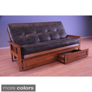 Somette Monterey Honey Oak Full-size Futon Set with Storage Drawers