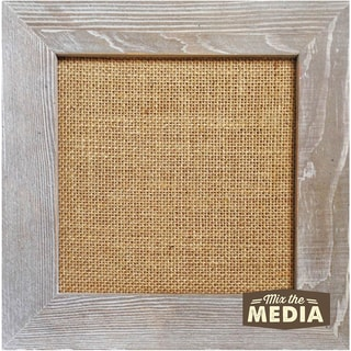 Mix The Media Weathered Wood Frame W/Burlap 10inX10in