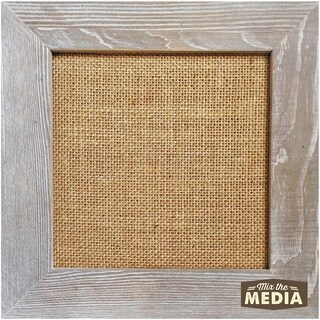 Mix The Media Weathered Wood Frame W/Burlap 12inX12in