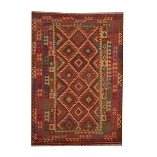 Herat Oriental Afghan Hand-woven Tribal Vegetable Dye Wool Kilim (6'6 x 9'5)