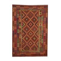 Handmade Herat Oriental Afghan Tribal Vegetable Dye Wool Kilim - 6'6 x 9'5 (Afghanistan)