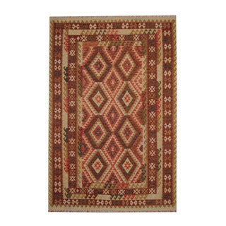 Herat Oriental Afghan Hand-woven Tribal Vegetable Dye Kilim Red/ Rust Wool Rug (6'6 x 9'9)