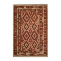 Handmade Herat Oriental Afghan Tribal Vegetable Dye Wool Kilim - 6'6 x 9'9 (Afghanistan)