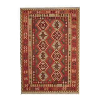 Herat Oriental Afghan Hand-woven Tribal Vegetable Dye Kilim Red/ Rust Wool Rug (6'11 x 9'10)